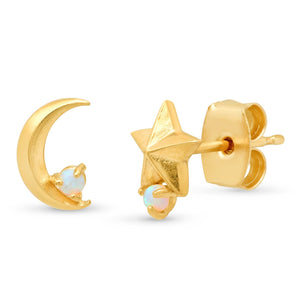 Gold Star Moon Studs Opal Accents