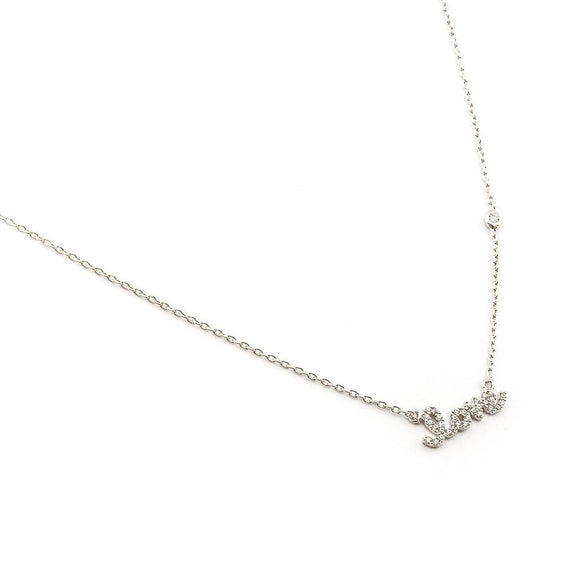 CZ Love Necklace Silver