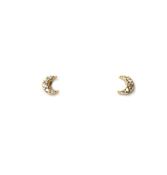 Mini Pave Moon Earrings Gold