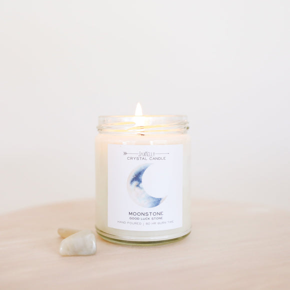 Moonstone Crystal Candle - Good Luck