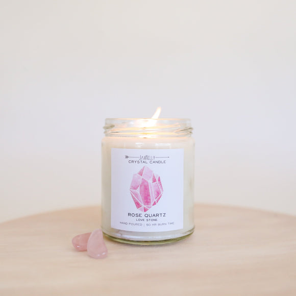 Rose Quartz Crystal Candle- Love