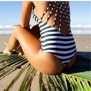 Striped Black and White Back Cross Strap One Piece Swimsuit
