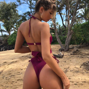2018 NEW Bikini Women Swimwear Push Up Cross Bandage Sexy Bathing Suit Brazilian Bikini Set Wine Red