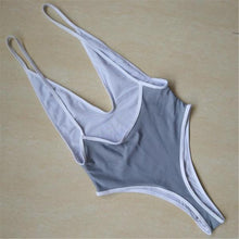 Sexy 2018 Backless Thong  High Cut Swimsuit Grey Color