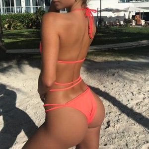 NEW 2018  Braided Cross Rope  Strappy Low Waist Bikini Set Orange Color