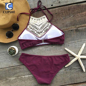 Burgundy Crochet Lace  Halter Tank Bikini Set High Neck