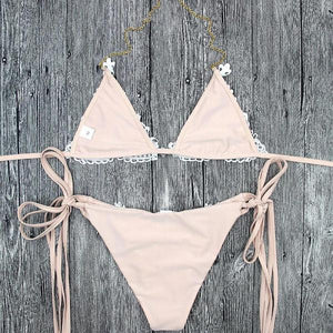 Diamond Lace Decoration Triangle Brazilian Bikini Set Hot Summer 2018 NEW Swimwear Collection Ivory