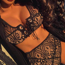 Black High Waist Lace Halter Push Up Bikini Set