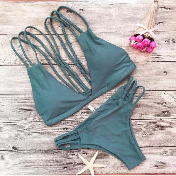 Striped Khaki  Push Up Bikini Set Halter Top Two Piece Swimsuit