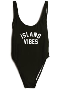 One Piece Backless Letter Print Swimsuit Black Monikini