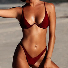 Brazilian Bikini Cut Out Set 2018 High Waist Thong Swimwear Red Wine Color
