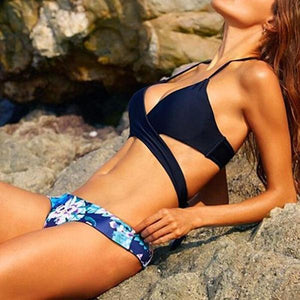 Dark Navy Halter Floral Print Front Cross Two Piece Swimwear Woman Bikini Set