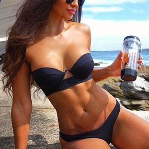 Strapless Black Push Up Low Waist Bikini Set