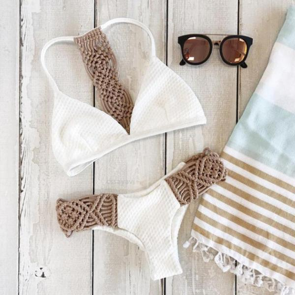 White Knitted Low Waist Bikini Set NEW Summer Collection