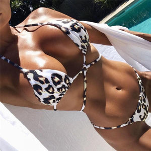 NEW Summer Collection 2018 Brazilian Bikini Set Triangle Push Up Cheetah
