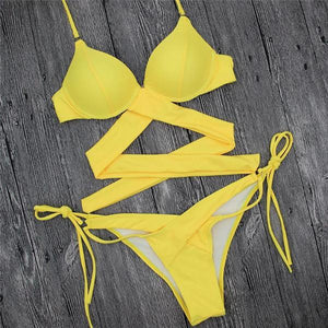 2018 NEW Push Up Cross Bandage Brazilian Bikini Set Yellow Color