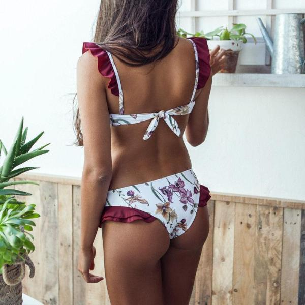 Flower Print Ruffle Bikini Set Wine Red Summer 2018