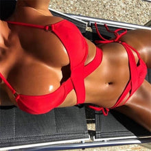 NEW Collection  Summer 2018 Cross Strap Bikini Set Push Up  Red