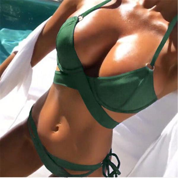 NEW Collection  Summer 2018 Cross Strap Bikini Set Push Up  Green