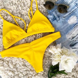 Yellow Brazilian  Knot Rope  Bikini Set