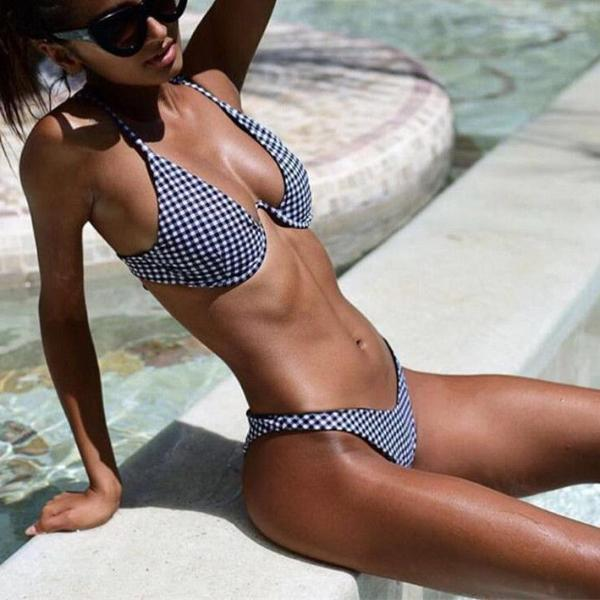 NEW Collection Summer 2018 Plaid Triangle Bikini Set Gray