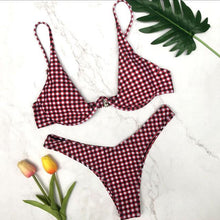 NEW Collection Summer 2018 Plaid Triangle Bikini Set Red