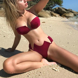 Hot Red Queen Push Up Thong Swimwear