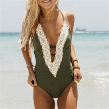 NEW 2018 Halter Patchwork Lace One Piece Swimsuit Olive Green Color