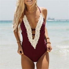NEW 2018 Halter Patchwork Lace One Piece Swimsuit Wine Red Color