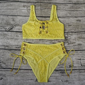 Yellow High Waist Lace Halter Push Up Bikini Set