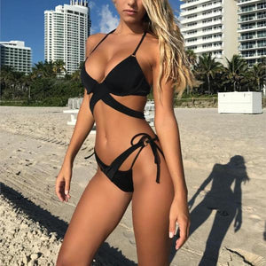 2018 NEW Push Up Cross Bandage Brazilian Bikini Set Black