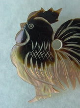 VINTAGE ABALONE SHELL ROOSTER PIN