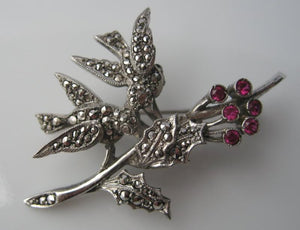 MARCASITE AND STERLING LOVEBIRD PIN GARNETS