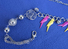 SILVERTONE CHAIN BELT / NECKLACE W/ PARROTS