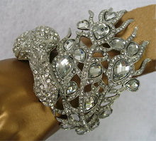OUTRAGEOUS PEACOCK CUFF BRACELET WITH SWAROVSKI STONES
