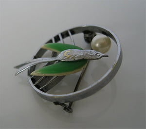ART DECO BIRD IN FLIGHT PIN W/ CELLULOID WINGS