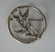 STERLING SILVER SWOOPING SWALLOWS PIN