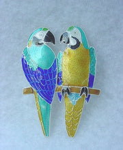 STERLING SILVER BLUE & GOLD MACAW PIN