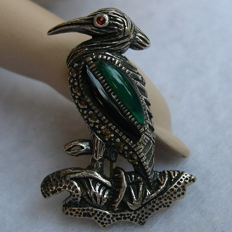STERLING SILVER & MARCASITE ENGLISH HERON PIN