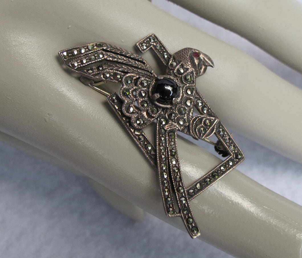 STERLING ART DECO PARROT PIN WITH MARCASITE ONYX GARNET