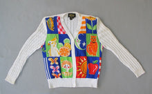 BOB MACKIE WEARABLE ART CARDIGAN SWEATER WITH COCKATOO