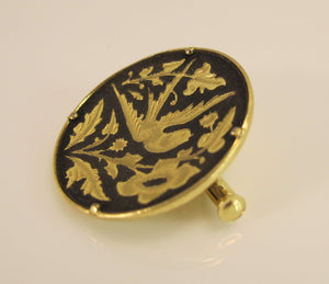 VINTAGE DAMASCENE BROOCH FROM EUROPE W/ SWALLOW BIRD