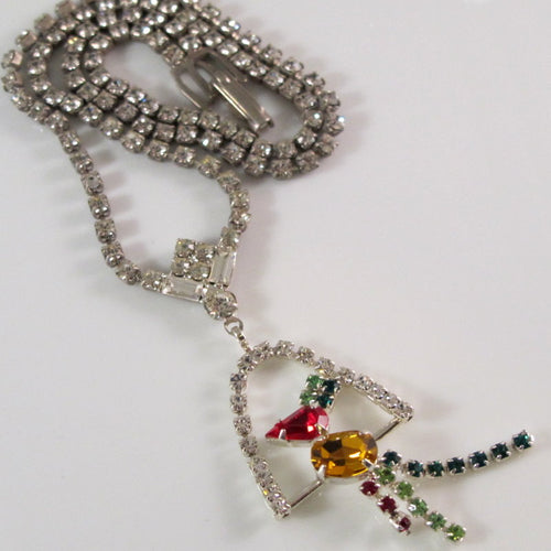 GORGEOUS ART DECO RHINESTONE NECKLACE W/ PERCHED PARROT