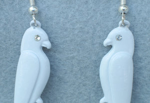 PARROT DANGLE EARRINGS FROM ENGLAND W/ RHINESTONE EYES