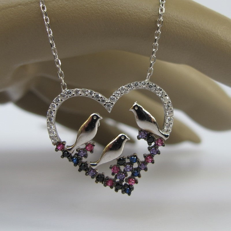 STERLING SILVER DOVE BIRD HEART NECKLACE WITH SAPPHIRE ONYX RUBY AMETHYST