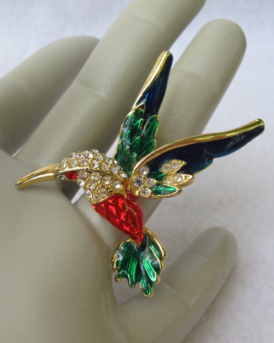 COLORFUL HUMMINGBIRD PIN W/ ENAMEL AND RHINESTONES