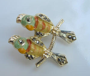VINTAGE COCKATOO DUO SCATTER PIN WITH MARCASITE