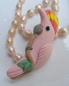 HAND CRAFTED LEADBEATER'S COCKATOO BROOCH