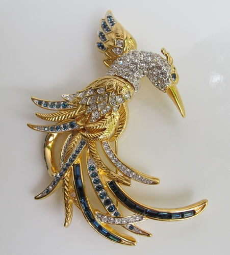 NOLAN MILLER BIRD OF PARADISE BROOCH WITH RHINESTONES