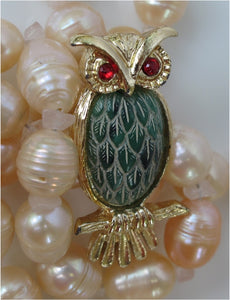 VINTAGE OWL PIN W/ GREEN CARVED BELLY AND RHINESTONES